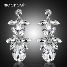Mecresh Colorful Top Crystal Women Bridal Drop Earrings Wedding Engagement Jewelry Marquise Leaf Teardrop Dangle EH1504