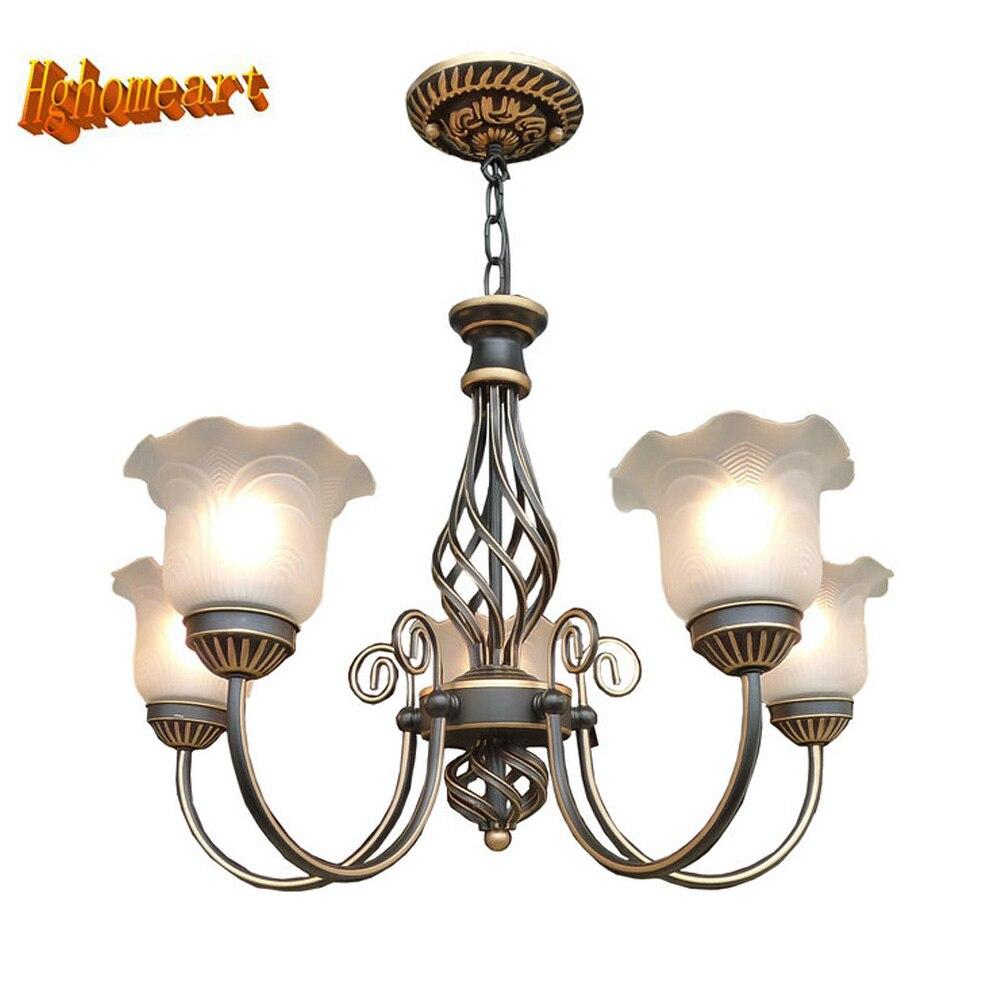 3 5 6 8 Heads Suspension Antique Iron Chandelier Lighting 110V 220v E27 LED Lamp Vintage
