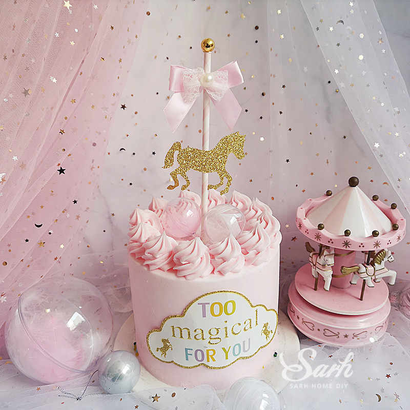 Terrific Bow Carousel Pink Lace Happy Birthday Cake Topper Dessert Personalised Birthday Cards Epsylily Jamesorg
