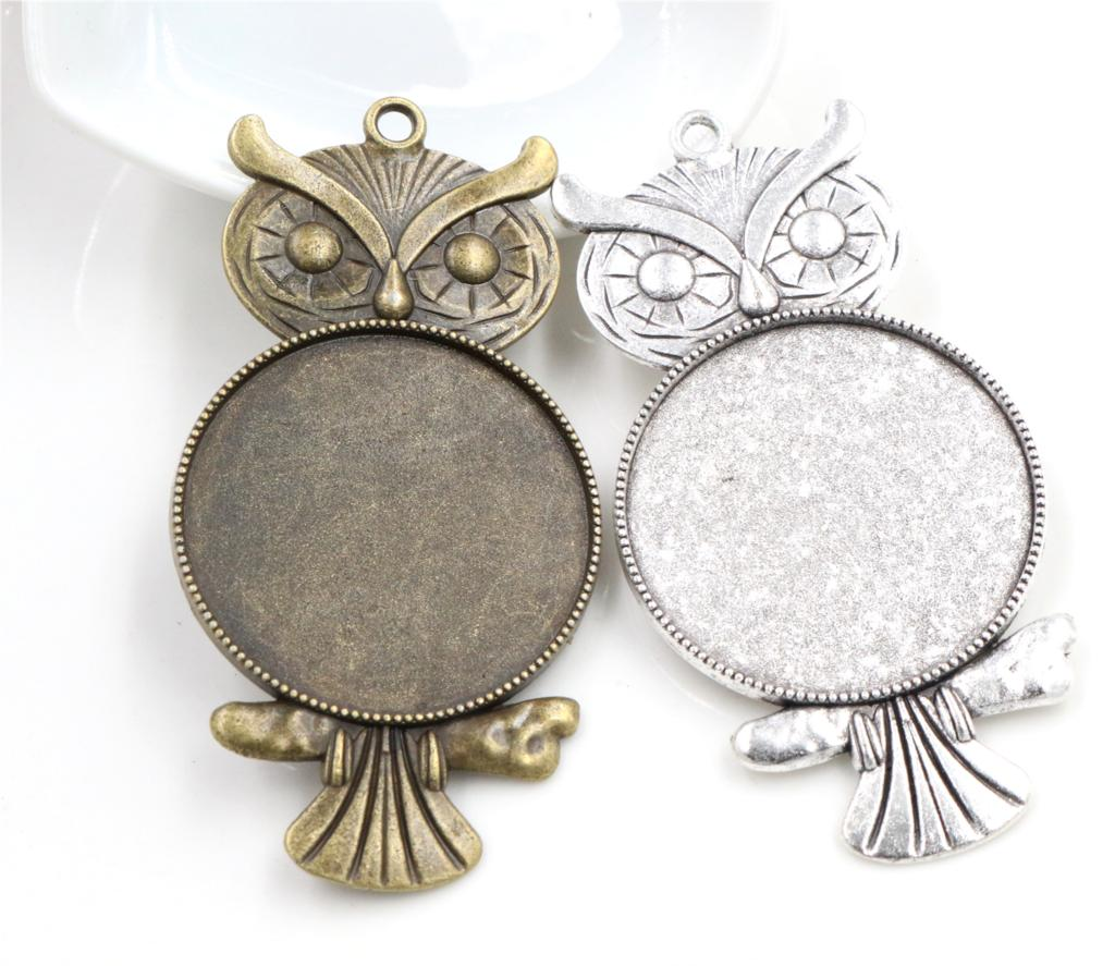 5pcs/lot 35mm Inner Size Antique Bronze And Silver Colors Plated Vintage Owl Style Cabochon Base Setting Charms Pendant