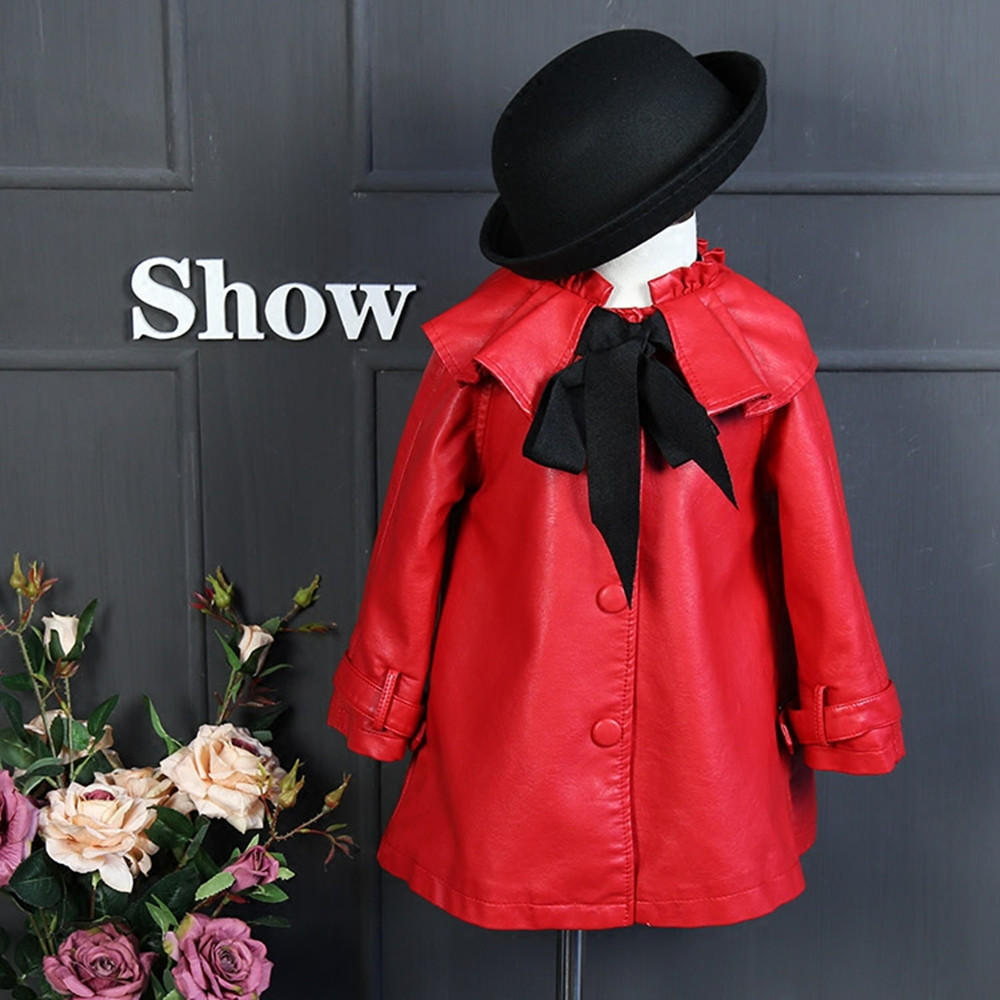 Children 's clothing single-breasted winter girls jacket and coats bow ties thickening cashmere kids leather jackets for girls