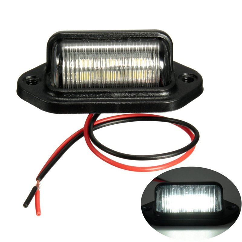 2Pcs Number Plate Light License Tail Light Step Lamp 6LED 10-30V For Car Boats Motorcycle Automotive Aircraft RV Truck Trailer