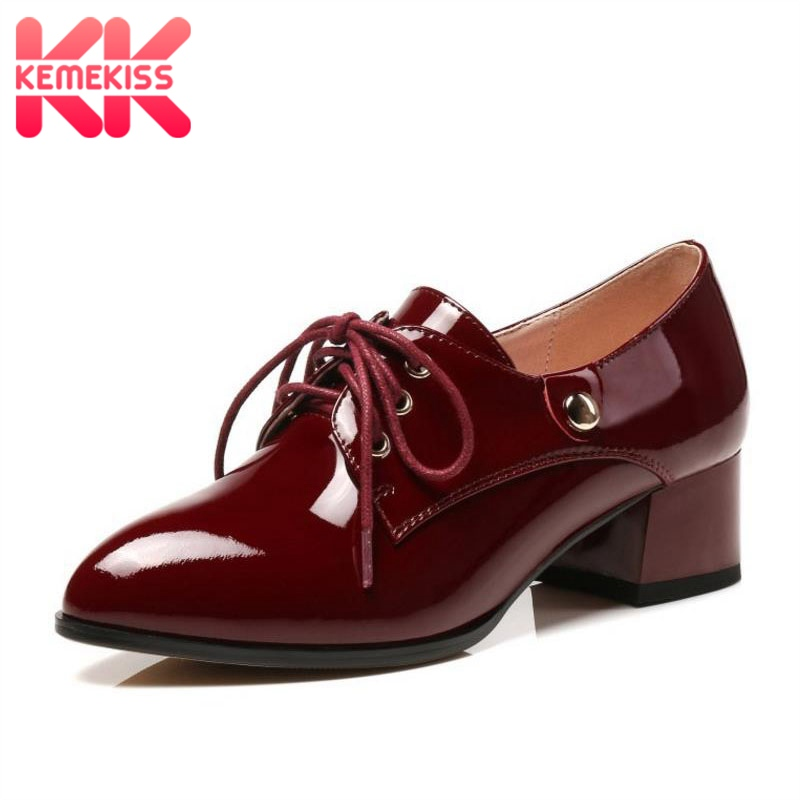 KemeKiss Plus Size 31-45 Office Lady Genuine Leather High Heel Shoes Women Lace Up Daily Thick Heel Pumps Quality Women Footwear