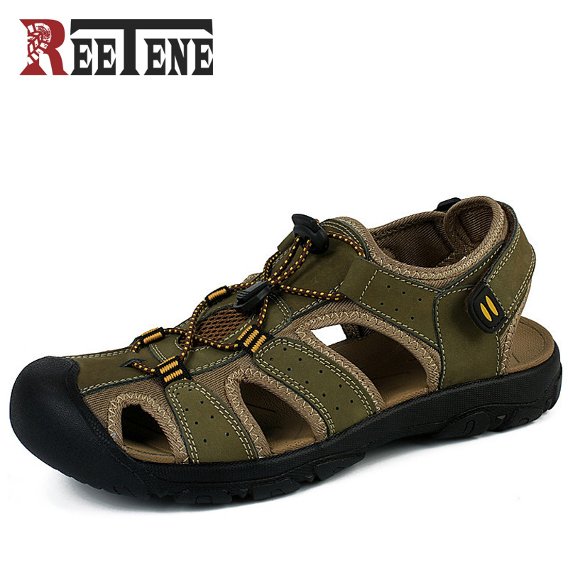 REETENE Size 38-48 Genuine Leather Men Sandals New 2017 New Summer Walking Sandals For Man Fashion Outdoor Slippers Casual Shoes