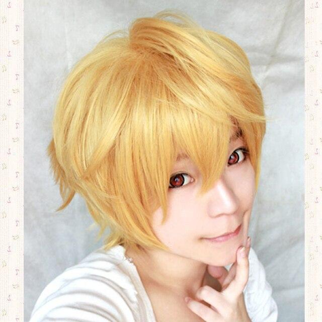 Hazuki Nagisa זהב קצר קוספליי פאה, מחממים התנגדות שיער + כובע פאה