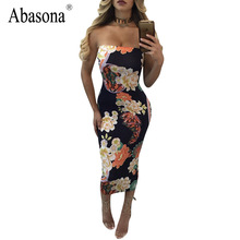 Abasona Women off the shoulder elegant party dress Sexy strapless vintage floral print midi Bodycon pencil