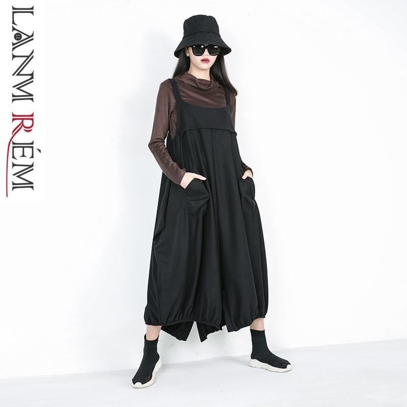 LANMREM 201 new spring fashion women clothes loose free size Straps   Wide     Leg     Pants   Hip Hop pocket pleated WC58101 trousers
