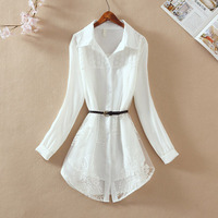 2019 summer new women blouse and shirts lace slim v neck white office lady work shirts fashion outwear tops