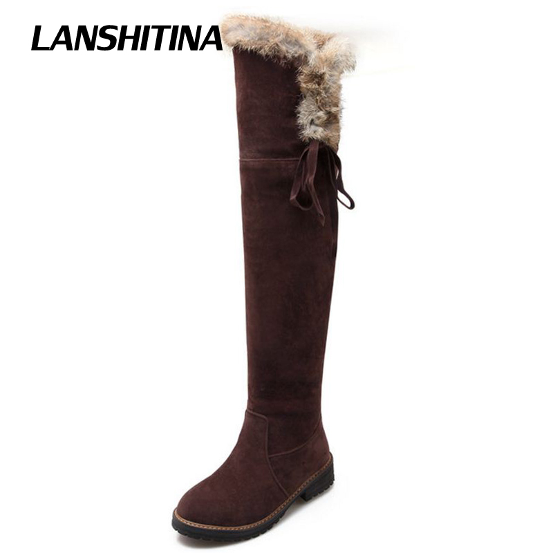 LANSHITINA Women Flat Over Knee Boots Fashion Snow Long Boot Cotton Fur Warm Winter Brand Botas Feminina Shoes G270 Size 34-42 free shipping over knee wedge boots women snow fashion winter warm footwear shoes boot p15323 eur size 34 39