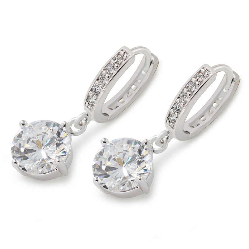 7c790bbb5 MxGxFam Drop Earrings With Round CZ Charms For Charming Women AAA+ Zircon  White Gold Color Special