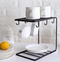 New arrival Kitchen cup tableware storage rack Metal Mug Coffee tea Cups display stand Dishes Drinkware Shelf Drain Hanger