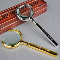 5X Straight Handle Handheld Magnifier With Golden Sliver Color Newspaper Reading Glass Loupe For Old
