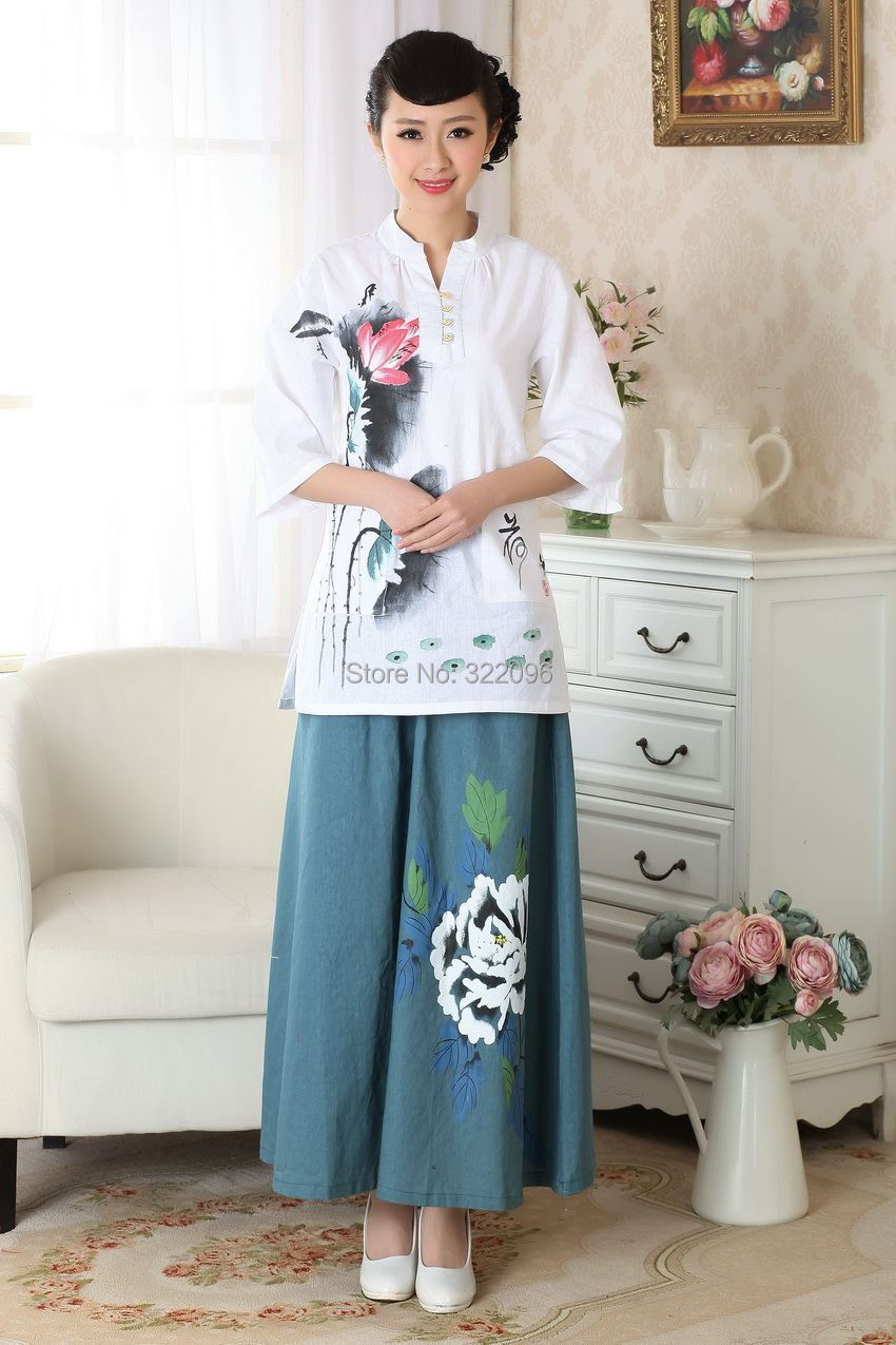 Cheongsam Lino Pintadas Top Chino Blusas Llegada Story 2017 Nueva Estilo A0057 Blusa De Blanco Tradicional Mano Shanghai A w7FgC