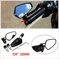 2Pcs 7 8 22mm Universal Motorcycle Billet Aluminum Handle Bar End Side Rearview Mirror 180 Degree