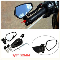 2Pcs 7 8 22mm Universal Motorcycle Billet Aluminum Handle Bar End Side Rearview Mirror 180 Degree