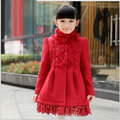 Crianças age 7 - 16 a venda de crianças gola casaco de lã lã engrossado sobretudo freeshipping