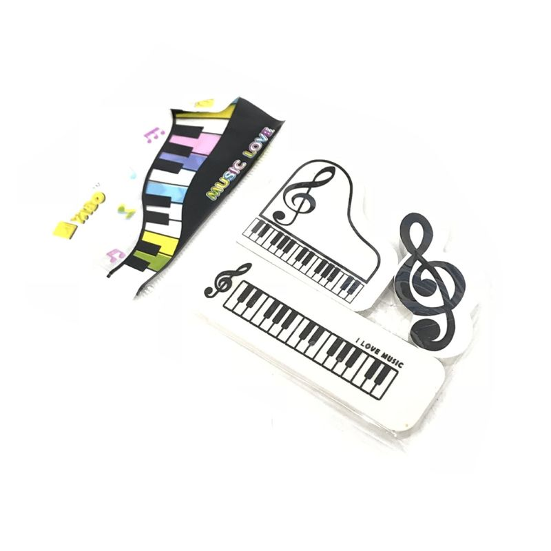 3pcs/set Musical Piano Notes Rubber Pencil Eraser School Student Korean Stationery Correction Supplies For Kids Gifts