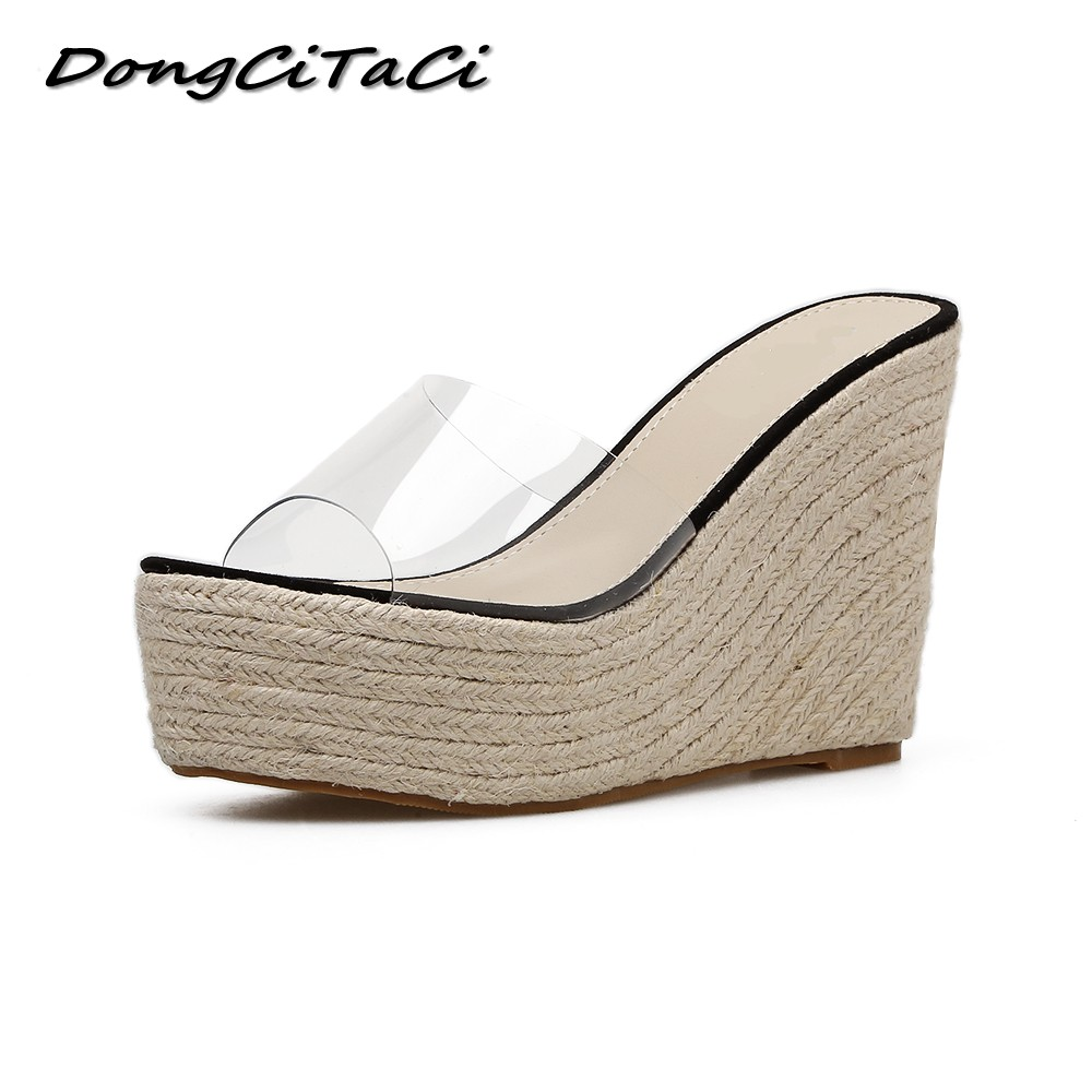 DongCiTaCi Women Platforms Wedge Sandals Shoes Woman Casual Thick Bottom Straw Hemp rope High Heels Clear Sandals Slippers