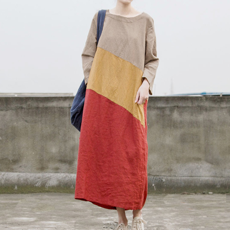 Johnature High Quality Ramie Dress 2019 Spring New O Neck Long Sleeve Patchwork Color Vintage Women