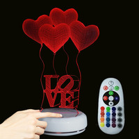 Touch Sensor LED Night Light Four Hearts LOVE 3D Nightlight 7 Colors Remote Control Acrylic Night
