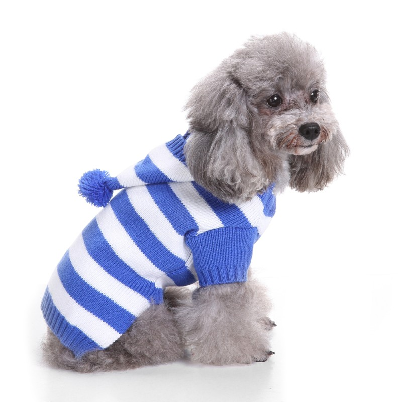 Cold Winter Pet Dog Keep Warm Clothes Small Medium Large Dogs Coat Jacket Stripe Hooded Sweater Puppy Costume