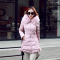 Plus Size 2016 Winter New Fashion Slim Medium Long Size Fur Collar Long Sleeve Hooded Solid Color Women Down Coat