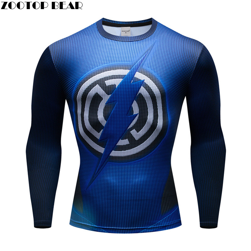 2019 Spring Superhero Superman/Batman/Spiderman Men Long Sleeve T Shirt Compression Tights Tops T-shirt Tight Fitness T shirts