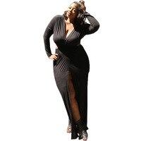 Plus-size 2xl 3xl Europejski styl Lato Wiosna jesień odzież damska będzie Kod Jednolity Kolor Sexy Głębokie V Upust Pełna Sukienka 1136 #