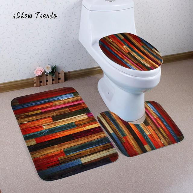 3pcs Colorful Wooden Board Seat Cover And Rug Bathroom Set Decor Comfortable Tank Toilet Contour