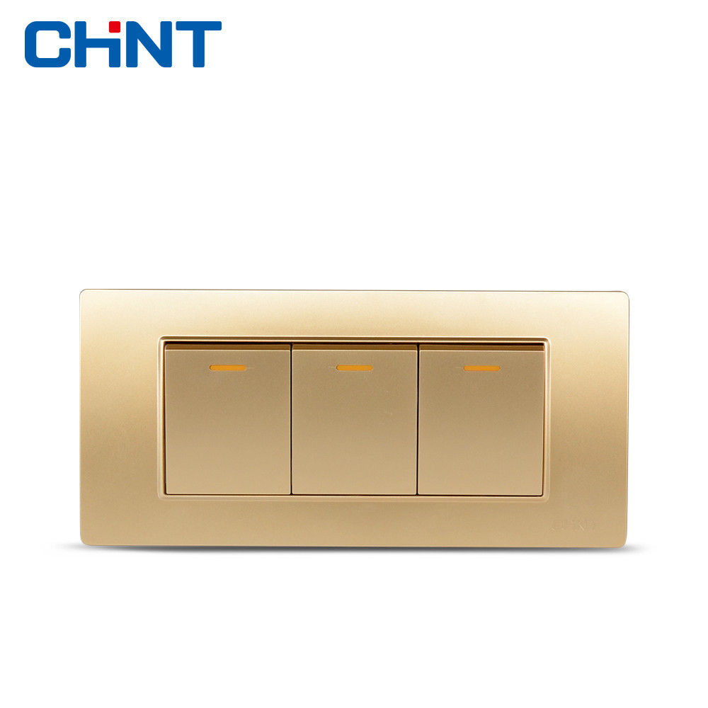 CHINT Three Gang Two Way Switch Panel 118 Type Wall Switch NEW5D Steel Frame Champagne Hyun Golden Switch smeong stainless steel frame two gang power control wall switch silver