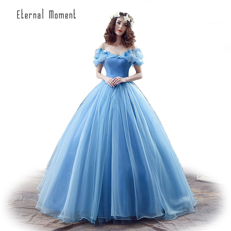 In Stock Movie Deluxe Adult Cinderella Wedding Dresses Blue ...
