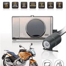 """3 """"LCD Dual Camera Moto DVR Dash Cam Full HD 1080 P/720 P Anteriore e Vista Posteriore impermeabile della Macchina Fotografica di GPS G-Sensore di Visione Notturna"""