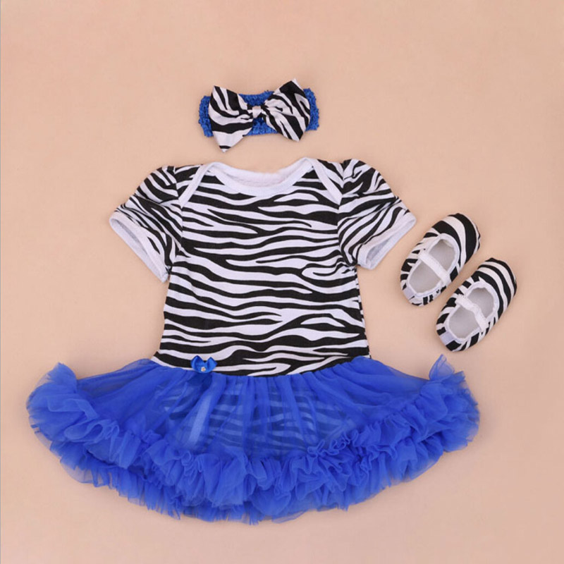 3PCs per Set Newborn Baby Girl Tutu Dresses Zebra Style with Flower Headband Shoes Free Shipping for 0-24Months