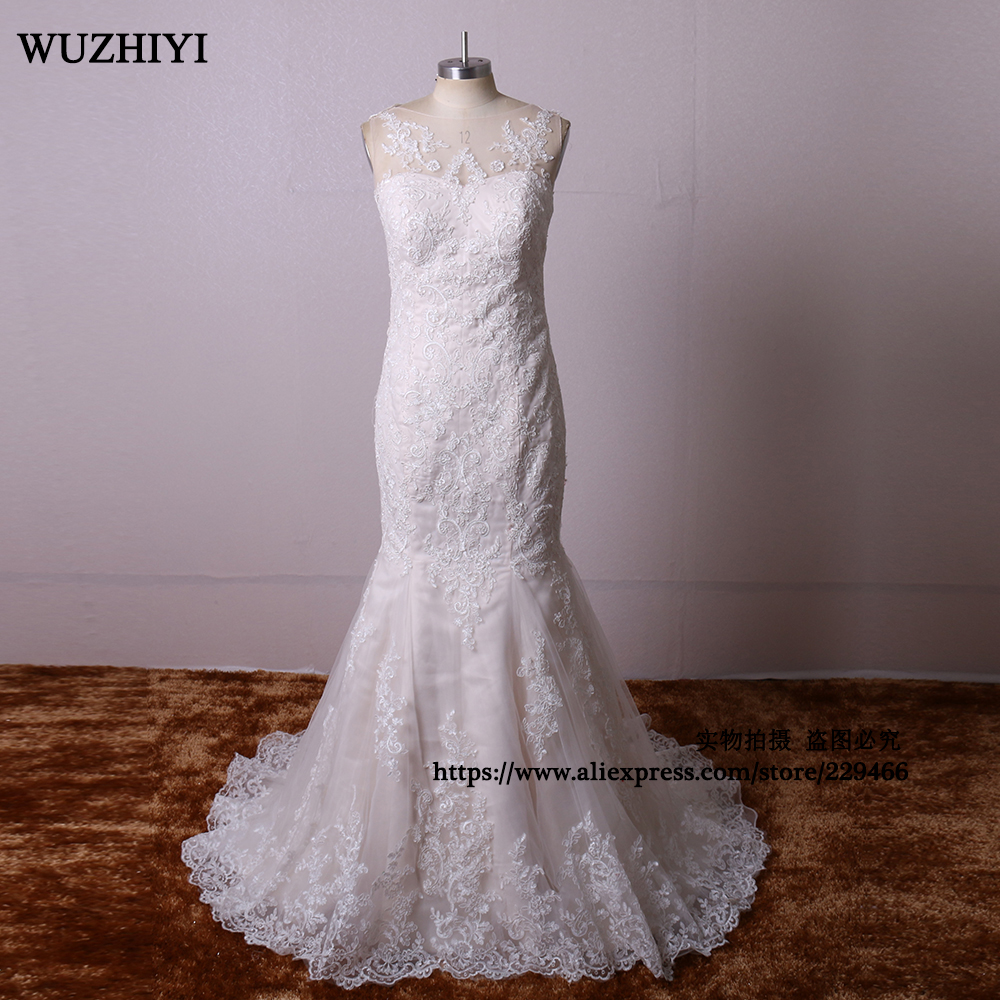 WUZHIYI Custom made see through Wedding dresses 2017 Lace Appliques Wedding gown Sexy Mermaid long China Bridal gown New Arrival