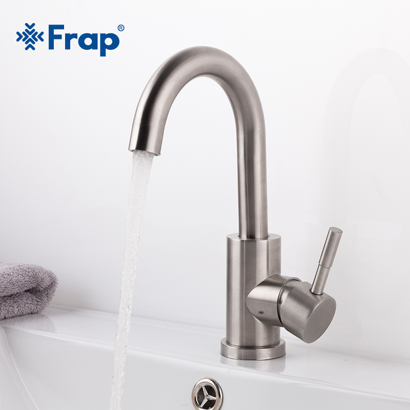 Frap New 1 set Bathroom Basin Mixer 304 Stainless Steel Body Basin Faucets Cold & Hot Water Basin Mixer Home Improvement Y10026