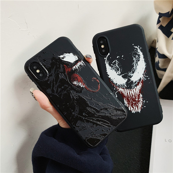 Male Marvel Venom Black Matte Silicone Case for iPhone X XR XS Max Cover for iPhone 6s 6 7 7Plus 8 Plus DC Comics Soft TPU Cases iPhone