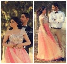 Elegante Indische Frauen Rosa Lange Prom Kleider Schatz Kappe Kristall Verziert Puffy Abendkleider Dubai Kaftan Kleider 2015