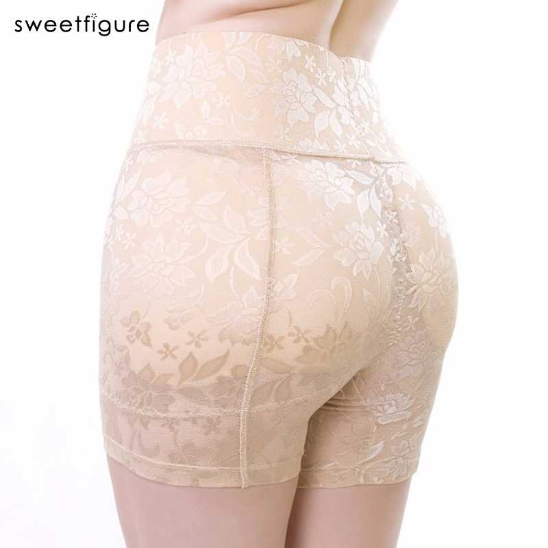 High Waist Abundant Fake Push Up Padded Panties Butt Lifter Hip Pants Sexy Lace Buttock Underwear Control Panties WomenUnderwear