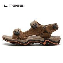LINGGE/сандалии из натуральной кожи; Мужская Летняя обувь; пляжные сандалии; качественные мужские шлепанцы; большие размеры 39-45;#2628