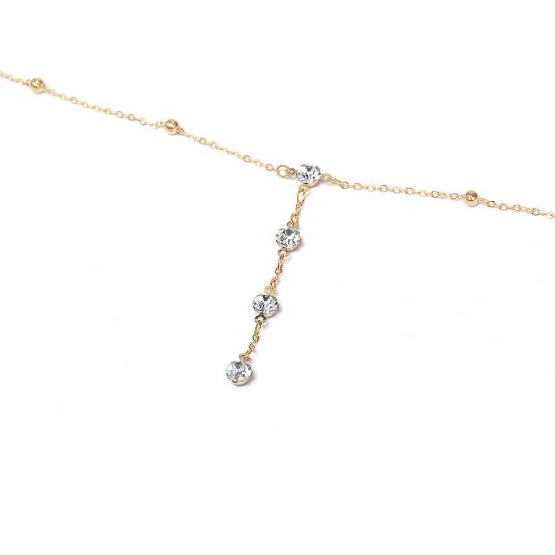 Rhinestones טאסל גוף שרשרת סקסי חוף זהב כסף צבע חתונה אביזרי חזיית צלב גוף שרשרת תכשיטים לנשים