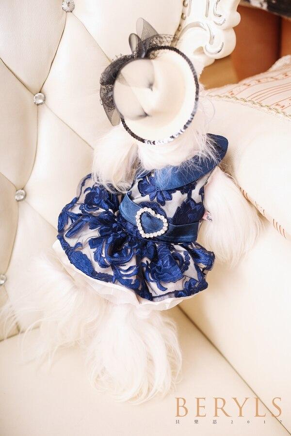 Haut de gamme bleu Royal luxe robes mariage princesse Banquet chien Pet vêtements Bomei vêtements printemps Chihuahua Yorkie Maltese