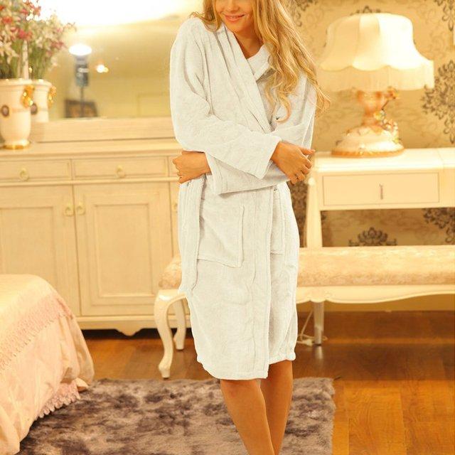 Mulheres Pijama Homewear Manga Longa Sleepwear Roupão Leisurewear Solto Confortável Spa Robe Longo