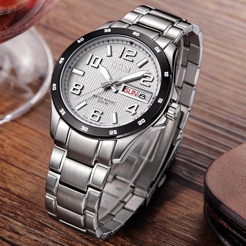 Mens Montres Haut Marque De Luxe Sport Quartz-Montre DOM M-132 Bracelet En Cuir Horloge Montre-Bracelet Étanche relogio masculino