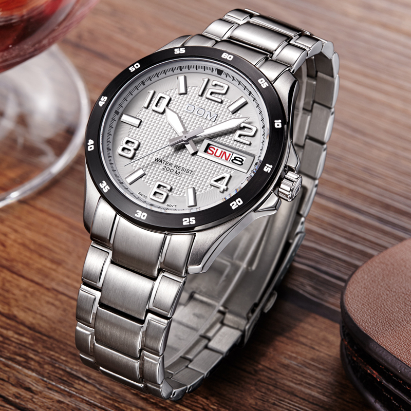 Mens Watches Top Brand Luxury Sport Quartz-Watch DOM M-132 Leather Strap Clock Waterproof Wristwatch relogio masculino