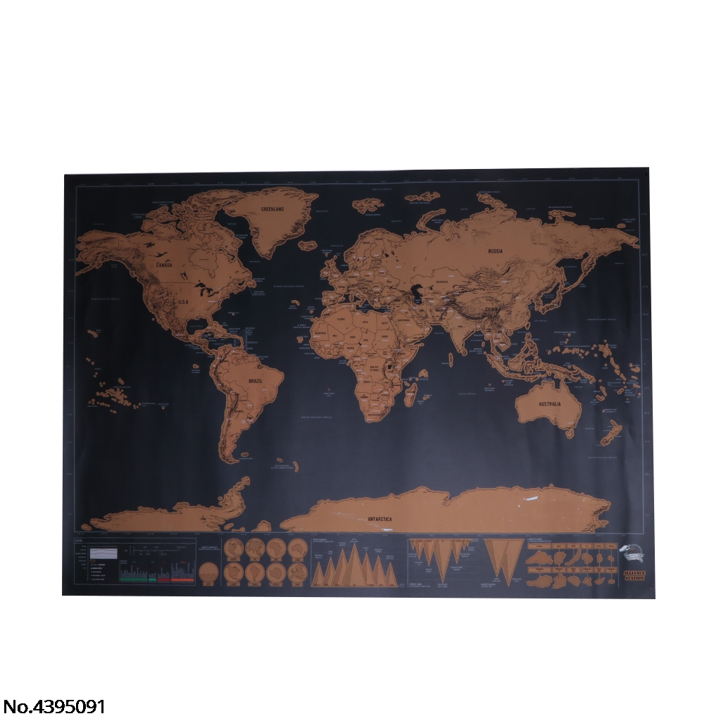 World Map Travel Edition Deluxe Scratch Map Personalized Poster Traveler Gift