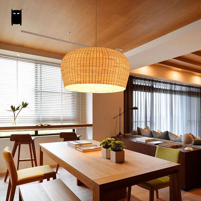 Bamboo Wicker Rattan Shade Pendant Light Fixture Asian Japanese Tatami Hanging Lamp Avize Luminaria Dining Table Room Restaurant