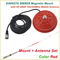 New Arrival KINNUOTA BMW58 Color Red MAGNETIC MOUNT with KINNUOTA SP-860R 144/430MHz Dual Antenna/Mount Antenna Set