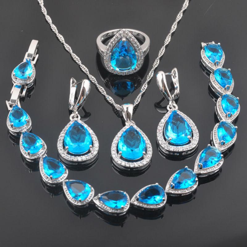 Schmuck & Zubehör Besorgt Fahoyo Sky Blue Zirkonia Wassertropfen Für Frauen 925 Sterling Silber Schmuck Sets Armband Halskette Anhänger Ohrringe Ring Qs0104 Ohne RüCkgabe