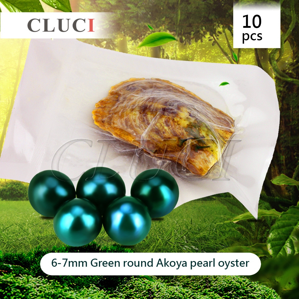 CLUCI 10pcs 6 7mm Akoya Green skittle Pearls in Oysters with vacuum packing Bright Colorful Round