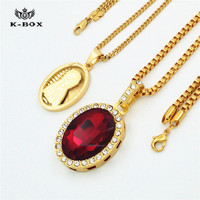 Hip Hop Iced Out Ruby Virgin Mary Oval Medal Mini Pendant 24 30 Box Chain Combo